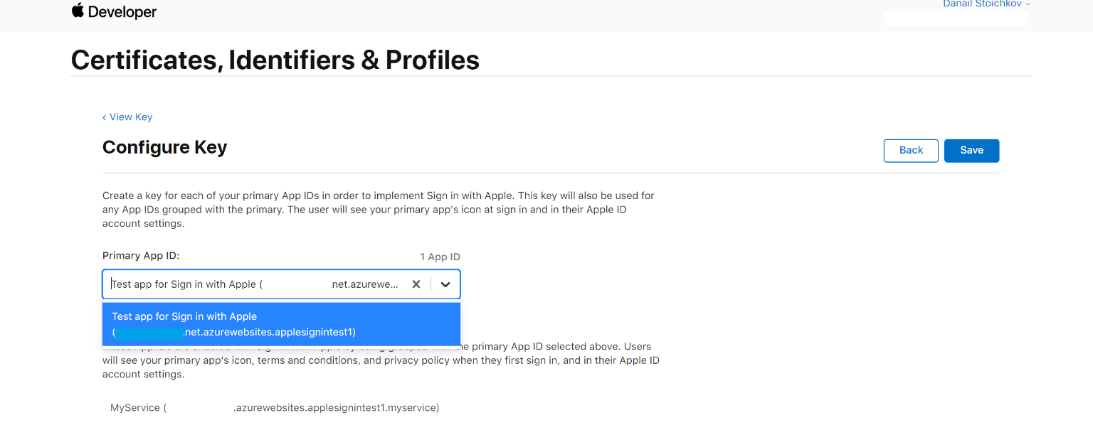 sign in with apple configure key