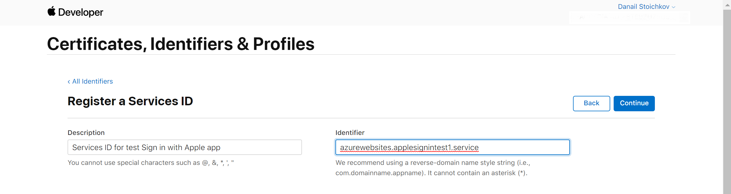 sign in with apple register a services ID
