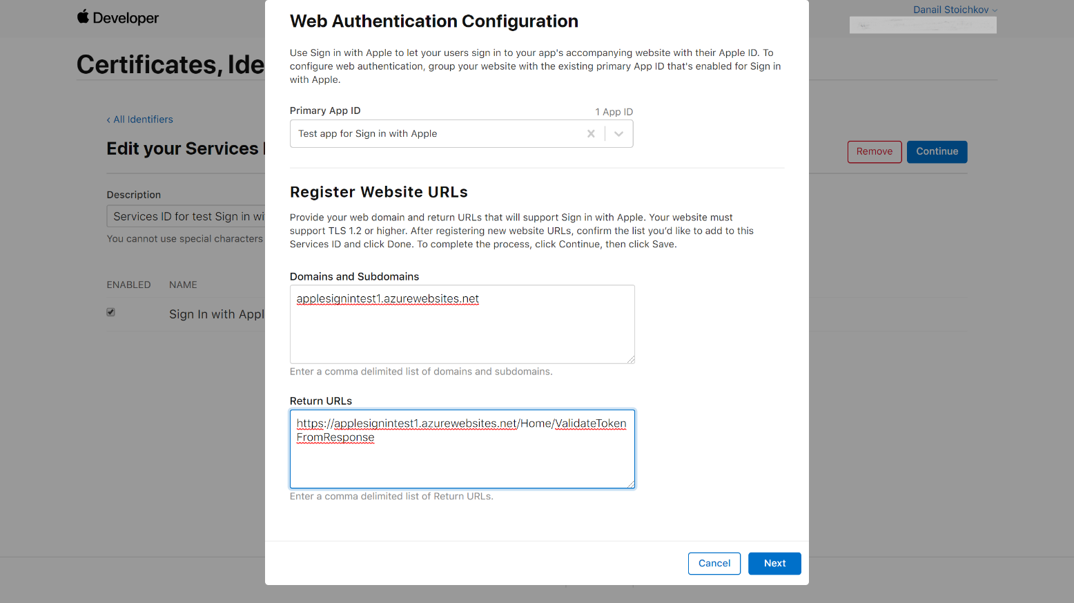 sign in with apple web authentication configuration