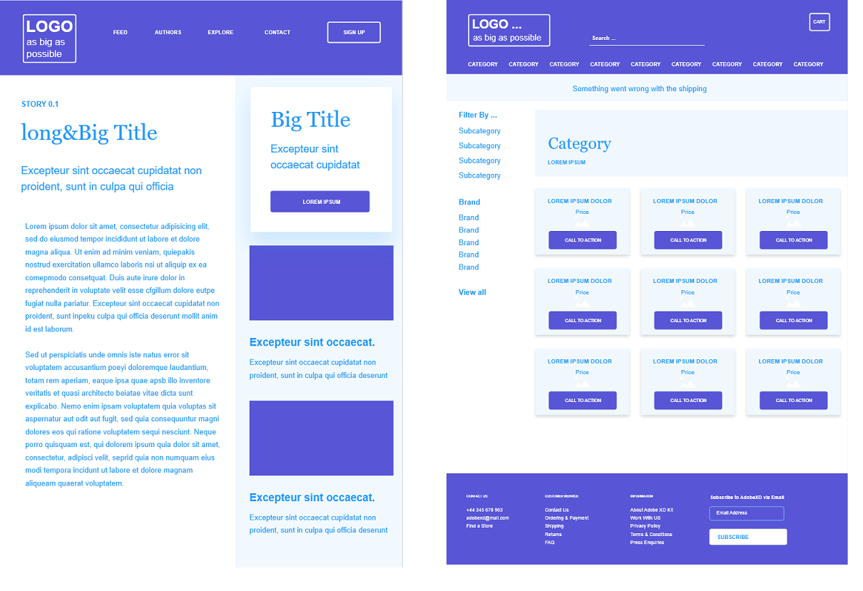 blog and e-commerce layout